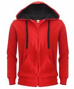 New Plain Mens Hoodie Fleece Pullover & Zip Jacket Sweatshirt Hooded Top XS-3XL