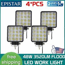 4x 48W Square LED Work Light 12V 24V Off Road Flood Spot Lamp Car Truck SUV 4WD
