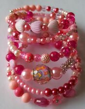 New Handmade Pink Beaded Multi Coiled Memory Wire Bracelet European Resin Beads