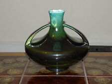70's Vintage Retro East German Pottery Vase Strehla 2327 Green, Stylish design
