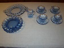 New Martinsville Janice Blue Depression Glass Luncheon Plates Cups Saucers Set