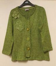 Ladies M&S Per Una green fleck appliqué Cardigan Size M