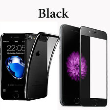 For iPhone 7Plus Case Crystal Clear Cover+Tempered Glass Screen Protector Black