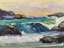 ROCK CURL TWO Original Expression Seascape Painting Pacific Ocean 12x16 080717
