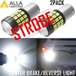 Alla Lighting 39-LED 1156 Strobe White Brake|Center High Stop|Backup Light Bulb