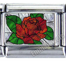 STAINED GLASS ROSE PEDAL CUSTOM 9MM ITALIAN PHOTO CHARM