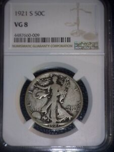 1921-S Walking Liberty Half Dollar, NGC VG 8, Semi Key Date, Issue Free