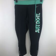 NIKE Dri Fit Just Do It Teal Blue Spell Out Workout Athletic Gym Running Crops S