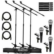 Samson M10 Dynamic Vocal Handheld Microphone Mic w Boom Stands Cables 3 Pack