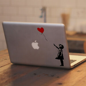 """Banksy The Girl With The Balloon for Macbook 11 12 13 15 17"""" Vinyl Decal Sticker"""