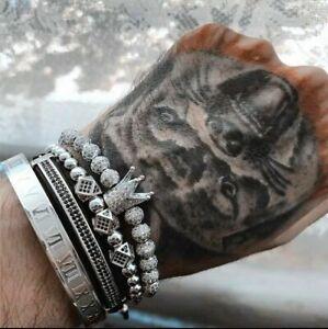 Royal Silver Crown CZ Bracelet Set Luxury 4 Pcs Roman Bangle Beads Jewellery