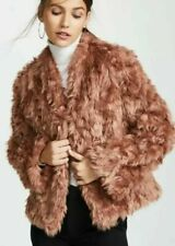 Vince Women's Jacket Small Copper Plush Faux Fur Coat $495