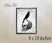 """Gothic Vintage design Skull and Crow wall art print 8 x 10 """" collage print Unfra"""