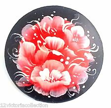Flower & Butterfly traditional Russian hand painted lacquer Red Black Pin Brooch