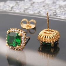Fashion jewellery! gorgeous 24k yellow gold filled emerald stud earring