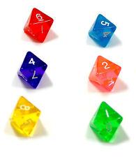 6er Set/ 8 Seitige Würfel mit Zahlen /D8/W8/farbig transparent Bunt/Ziffern 1-8