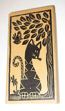 "Cat Rubber Stamp Magenta Sitting By Tree Bird Jungle Large 6.25"" Kitten Kitty"