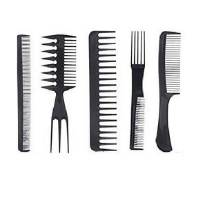5 PCS SALON STYLE COMB ASSORTED HAIRDRESSING SET BRUSH WIDE TOOTH COMBS LARGE