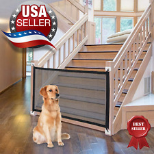 Retractable portable gate for pet dog cat, safe babies indoor & outdoor.