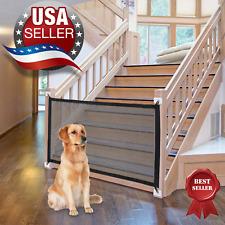 Retractable portable gate for pet dog cat, safe babies indoor & outdoor.