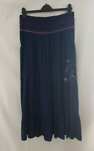 Joe Browns Ladies Navy Blue Embroidered Tiered Maxi Skirt Peasant Boho Size 16