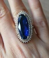 925 Sterling Silver Handmade Authetic Turkish Sapphire Ladies Ring Size 7,8,9