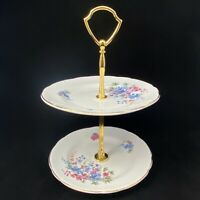 "TWO TIER CENTER HANDLE STAND china plates FLORAL DESIGN & GOLD HANDLE 9"" tall"