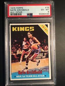 1975 TOPPS NATE ARCHIBALD CARD #15 - GRADED PSA 6 - HOF