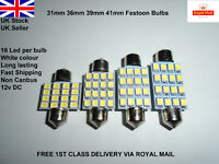 Car Festoon 31-42mm Led Smd c5w sv8.5 Lamp Light Bulbs Interior Hid White 12v UK