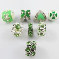 BULK x8 Enamel & Rhinestone Bead Pack Green fit European Charm Bracelets