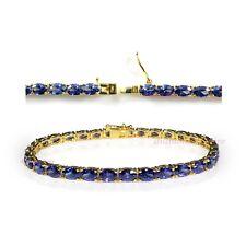 Yellow Gold on 925 Sterling Silver 16ct TGW AAA Tanzanite Oval Tennis Bracelets