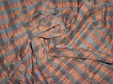 Luftiges Leinen Mischgewebe mit Crash-Effekt LLT-Karo in Orange, Beige & Schwarz