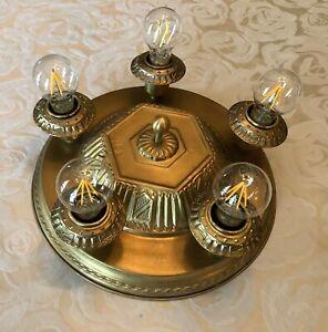 Antique Art Deco Light Fixture BRASS 5 Light Sockets Flush Mount Restored