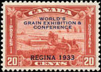 Mint Canada 1933 VF Scott #203 20c Grain Exhibition Stamp Hinged