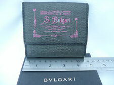 Ladies BVLGARI Black Grey Pink Leather and Manmade Trifold Wallet Purse