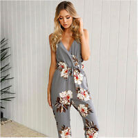 Women Sleeveless Holiday Party Playsuit Ladies Romper Long Floral Jumpsuit Dress