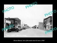 OLD LARGE HISTORIC PHOTO OF DOWNS KANSAS, VIEW OF THE MAIN STREET & STORES c1940