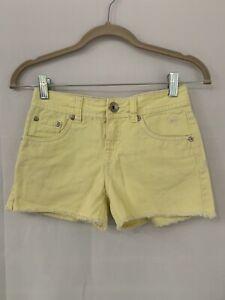 Justice Girls Jeans Denim Yellow Shorts Sz 10 R