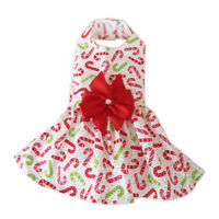 Christmas Red Green Candy Canes Small Dog Dress Little Dog Clothes Sz M
