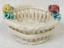 Italian Bowl * Beautiful Roses * Weave Design * Terrific Collectible Bowl *