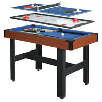 """AIR HOCKEY POOL BILLIARD TABLE TENNIS GAME TABLE 48"""" 3-in-1 Accessories Included"""