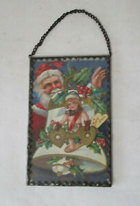 Antique 1910 Santa Hanging Framed Postcard Ornament Sweethaert Series #1