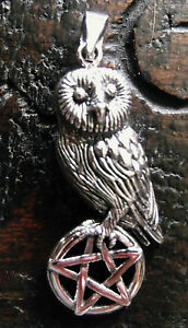 Lisa Parker Sterling Silver Owl & Pentagram Pendant Pagan Wiccan Witch Athena