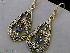 CE282- Genuine 9ct 9K Solid Yellow GOLD Natural SAPPHIRE & PEARL Drop Earrings