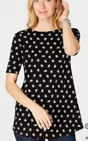 NEW J. JILL S L Petite Daisy Pima Shirttail S/S Tee Top Floral 100% Cotton Black