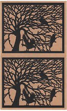 Lot of Two Mrs Grossman Night Watch Laser Cut Crow in a Tree Sticker Sheets