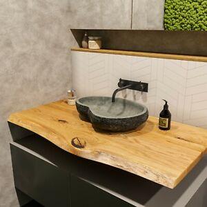 Waschbecken Waschtischplatte Massiv Waschtisch Eiche Holz Baumkante Unikat