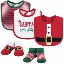 Little Treasure Boy Bib and Sock 5-Piece Set, Santa