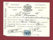 Bagno a Ripoli - Fattoria Ginori Belmonte all'Antella Ricevuta di Bestiami 1915