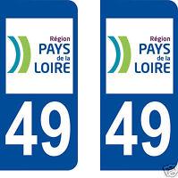 stickers autocollants plaques immatriculation auto Département Maine et Loire 49